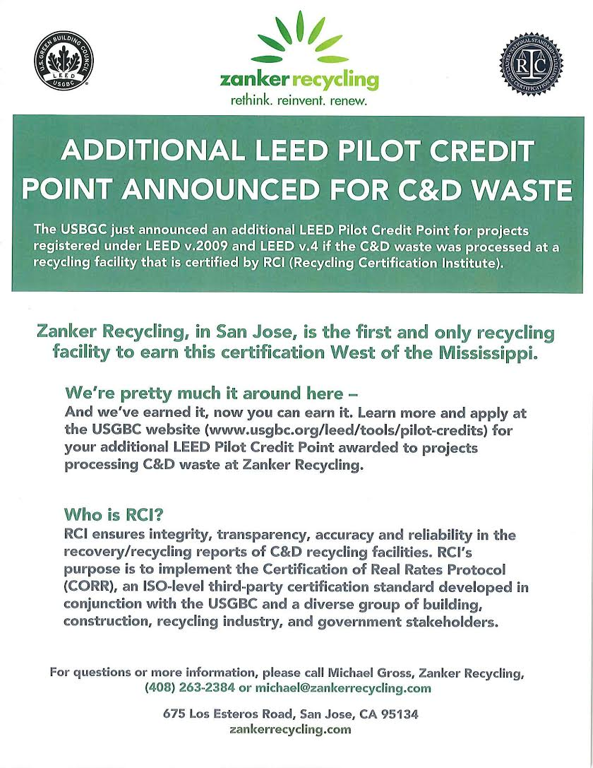 About leed zanker recycling leed is to encourage projects to source separate ss as much as possible ss allows the project to have a higher diversion rate because the materials 1betcityfo Choice Image